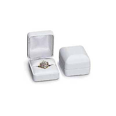Picture of White Faux Leather Ring Box by Smart Fixtures