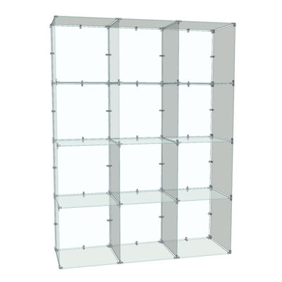 Picture of 4x3 Glass Cube Display with Backs, 10x16 Panels by Smart Fixtures