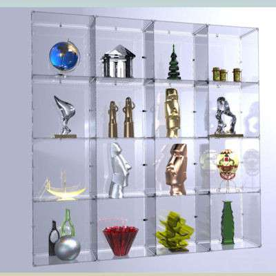 Picture for 4x4 Glass Cube Display w Backs, Plastic Clips by Smart Fixtures