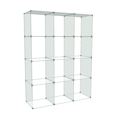 Picture of 4 x 3 Glass Cube Display, 14 x 14 Panels by Smart Fixtures