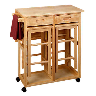 Space Saving Drop Leaf Table With Square Stools