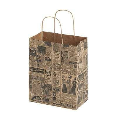 Picture for Newsprint Paper Shopping Bags, 8x4x10, 100ct by Smart Fixtures