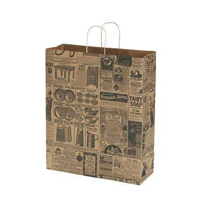 Picture for Newsprint Paper Shopping Bags, 16x6x19, 100ct by Smart Fixtures