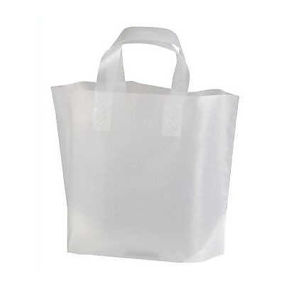 Picture of Frosted Plastic Shopping Bags, Case of 250 by Smart Fixtures