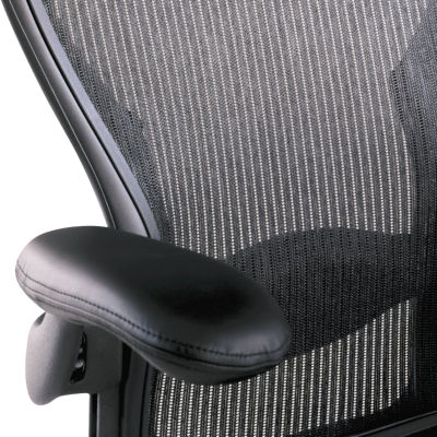 AE1ARMPADS-BLACK LEATHER: Customized Item of Classic Aeron Armpads, Pair by Herman Miller (AE1ARMPADS)
