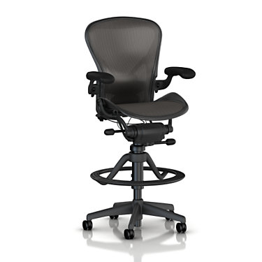 AE723PWBG1PJNNC7BK3D02: Customized Item of Classic Aeron Stool, High Height by Herman Miller (AE72)