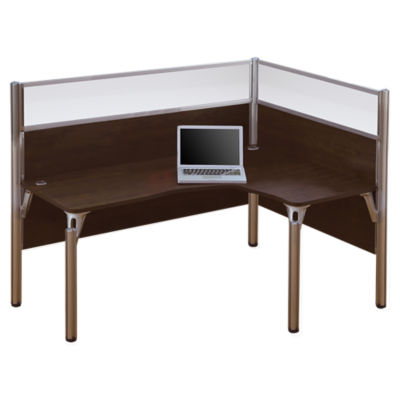 Picture of Pro Biz L-Shaped Desk with Priacy Glass, Right-Hand by Bestar