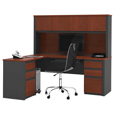 Picture of Slimline Dual-Pedestal L-Shaped Workstation