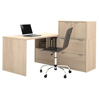 Kimball L-Shaped Desk with Small Hutch  SmartFurniture.com - Smart ...