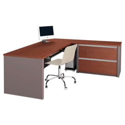 Picture for Connexion L-Shaped Workstation Kit with One Oversized Pedestal by Bestar