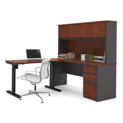 Picture for Prestige + L-Desk with Hutch and Height Adjustable Table by Bestar