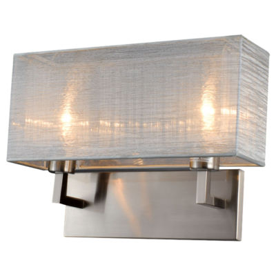Picture of Prescott Double Silk Silver Wall Sconce by Bromi Design