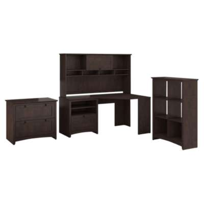 Picture for Buena Vista Corner Desk with Hutch, 6-Cube Storage and Lateral File