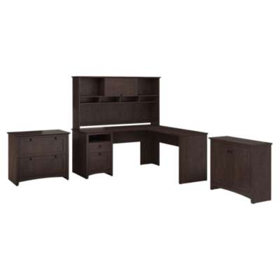 Picture for Buena Vista L-Desk with Hutch, Low Storage and Lateral File