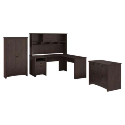 Picture for Buena Vista L-Desk with Hutch, Lateral File and Tall Storage