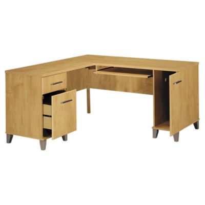 "Picture of Somerset 60"" Maple Cross L-Desk"