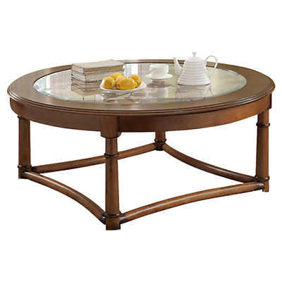 Picture of Flower Patterned Coffee Table with Inset Glass Top