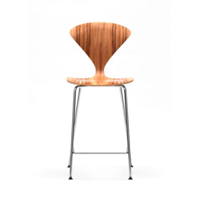 CHCSTMC-C-NATURAL WALNUT: Customized Item of Cherner Stool with Chrome Metal Base (CHCSTMC)
