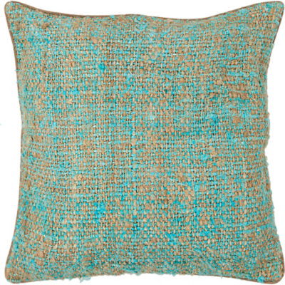 Picture of Handmade Contemporary Silk Fabric Pillow in Blue/ Natural