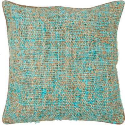 Picture for Handmade Contemporary Silk Fabric Pillow in Blue/ Natural