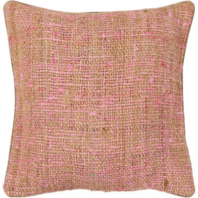 Picture of Handmade Contemporary Silk Fabric Pillow in Pink/ Natural