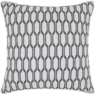 Picture of Handmade Contemporary Cotton Pillow in White and Grey Pattern