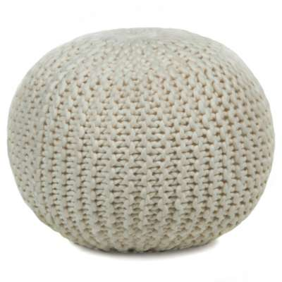 Picture for Hand-Knitted Contemporary Wool Pouf, Round