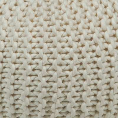 Ivory for Hand-Knitted Contemporary Wool Pouf, Round (CHPOU10)
