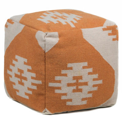 Picture of Hand-Knitted Contemporary Wool Pouf, Orange and Cream