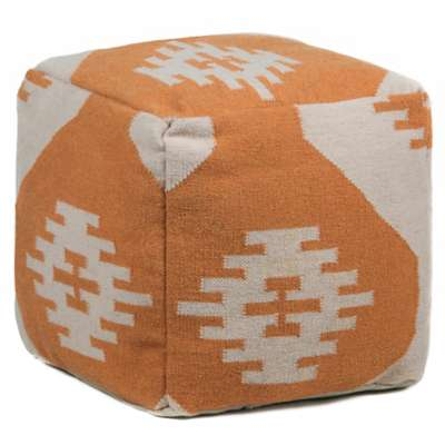 Picture for Hand-Knitted Contemporary Wool Pouf, Orange and Cream
