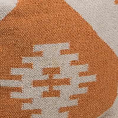 Orange, Cream for Hand-Knitted Contemporary Wool Pouf, Orange and Cream (CHPOU3)