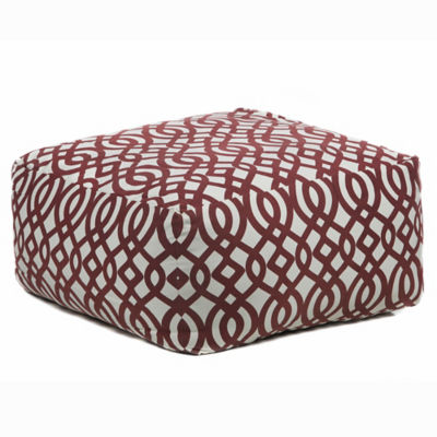 Picture of Handmade Contemporary Printed Cotton Pouf, Red