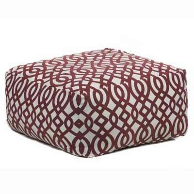 Picture for Handmade Contemporary Printed Cotton Pouf, Red