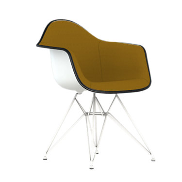 DAR.U47ZFZF14A41E9: Customized Item of Eames Upholstered Molded Plastic Armchair with Wire Base by Herman Miller (DAR.U)