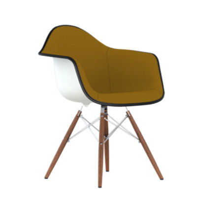 DAW.UBKOUZEZF14A48E8: Customized Item of Eames Upholstered Molded Plastic Armchair with Dowel Leg Base by Herman Miller (DAW.U)
