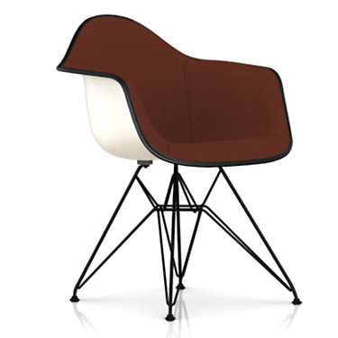 DFAR.UBK118BK14A39E8: Customized Item of Eames Upholstered Molded Fiberglass Armchair with Wire Base by Herman Miller (DFAR.U)