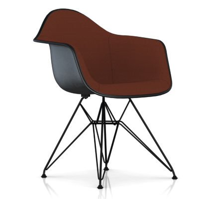 DFAR.UBK118BK14A20E9: Customized Item of Eames Upholstered Molded Fiberglass Armchair with Wire Base by Herman Miller (DFAR.U)