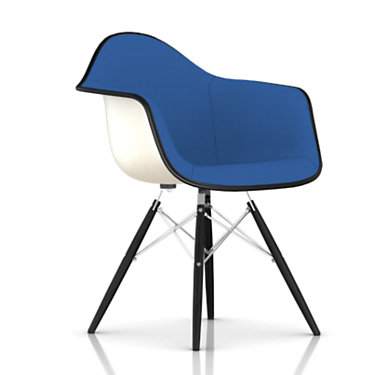 DFAW.UBKEN118BK14A44E8: Customized Item of Eames Upholstered Molded Fiberglass Armchair with Dowel Leg Base by Herman Miller (DFAW.U)