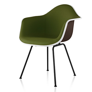 DFAX.U4711111114A44E9: Customized Item of Eames Upholstered Molded Fiberglass Armchair with 4-Leg Base by Herman Miller (DFAX.U)