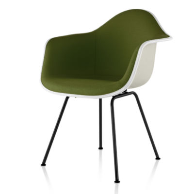 DFAX.UBK11111114A43E8: Customized Item of Eames Upholstered Molded Fiberglass Armchair with 4-Leg Base by Herman Miller (DFAX.U)