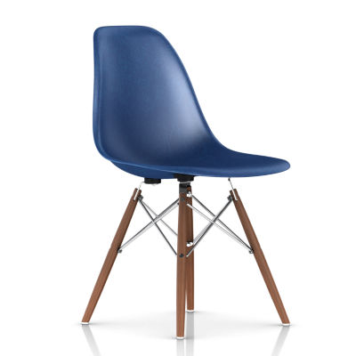 DFSWBKOU113E8: Customized Item of Eames Molded Fiberglass Side Chair, Dowel Leg Base by Herman Miller (DFSW)