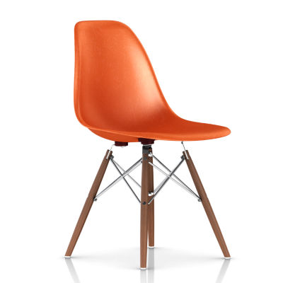 DFSWBKOU114E8: Customized Item of Eames Molded Fiberglass Side Chair, Dowel Leg Base by Herman Miller (DFSW)