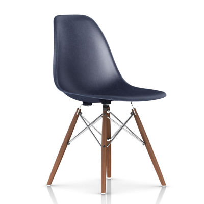 DFSWBKOU117E8: Customized Item of Eames Molded Fiberglass Side Chair, Dowel Leg Base by Herman Miller (DFSW)