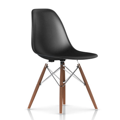 DFSWBKOU118E8: Customized Item of Eames Molded Fiberglass Side Chair, Dowel Leg Base by Herman Miller (DFSW)