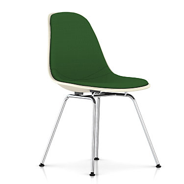 DFSX.U4711111114A44E9: Customized Item of Eames Upholstered Molded Fiberglass Side Chair with 4-Leg Base by Herman Miller (DFSX.U)