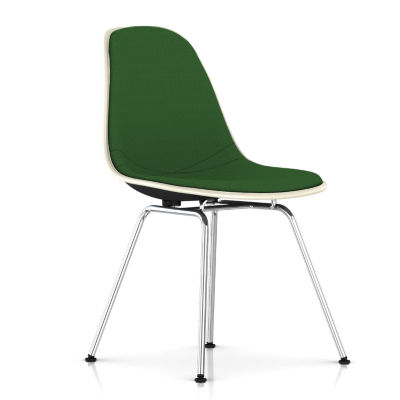 DFSX.UBK118BK14A20E8: Customized Item of Eames Upholstered Molded Fiberglass Side Chair with 4-Leg Base by Herman Miller (DFSX.U)