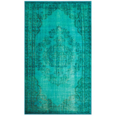 Picture of Machine Made Vintage Inspired Overdyed Rug in Teal by nuLOOM