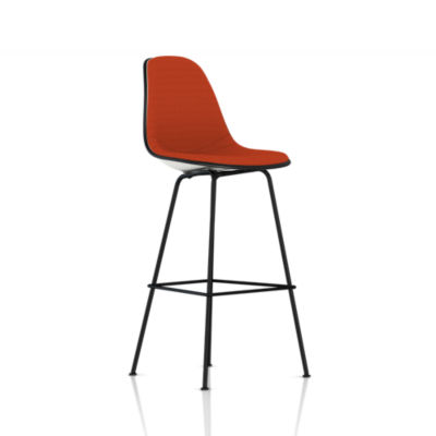 Picture of Eames Molded Plastic Upholstered Bar Stool by Herman Miller