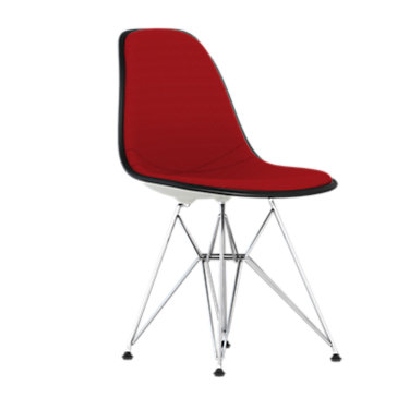 DSR.U47ZFZF14A44E8: Customized Item of Eames Upholstered Molded Plastic Side Chair with Wire Base by Herman Miller (DSR.U)