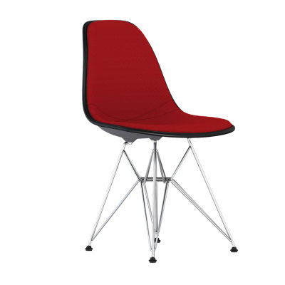 DSR.U47CHLZF14A40E8: Customized Item of Eames Upholstered Molded Plastic Side Chair with Wire Base by Herman Miller (DSR.U)